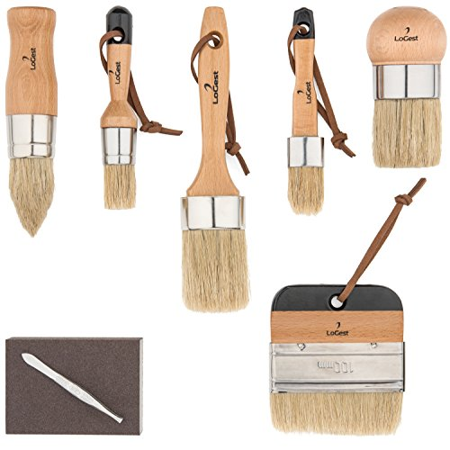 (Pro 6 Chalked Brush Set for Artist - Waxing,Milk Paint, Brush Set - Premium Thick Natural Boar Bristles Hair - Furniture Paint Brushes - Sanding Pad & Bristle Remover Included - by LoGest)