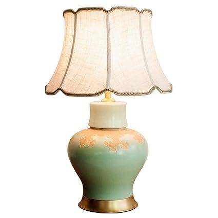 C&S Lámpara de Escritorio de cerámica Verde Sala de Estar de ...
