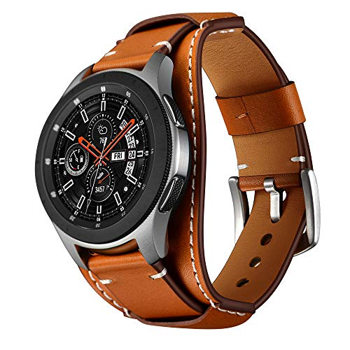 Balerion Cuff Genuine Leather Watch Band,Compatible with Galaxy Watch 46mm,Gear S3,f0ssil Q Explorist/Q Marshal Gen 2 and Other Standard 22mm Band Width Watch,Brown