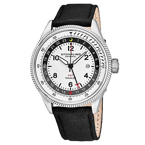 Stuhrling Original Men's 789.01 Aviator Analog Display Swiss Quartz Black Watch (Aviator Traveler Case)