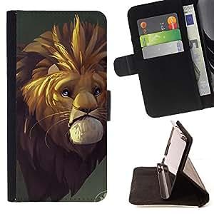 BullDog Case - FOR/Samsung Galaxy S4 IV I9500 / - / SAD LION CARTOON FAIRY TALE SAFARI AFRICA WILD /- Monedero de cuero de la PU Llevar cubierta de la caja con el ID Credit Card Slots Flip funda de cuer