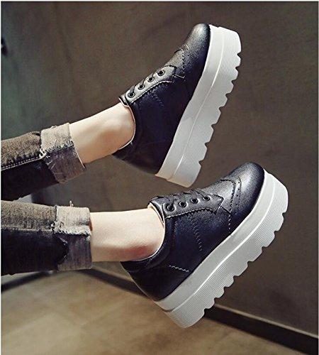 Student 36 Schuhe Dicke Frauen neuen Einzelne der Schuhe Flut Black Weibliche steigende KHSKX The wilden koreanische Schuhe Die Sponge Cake Lounge Version der qIxB77Xg