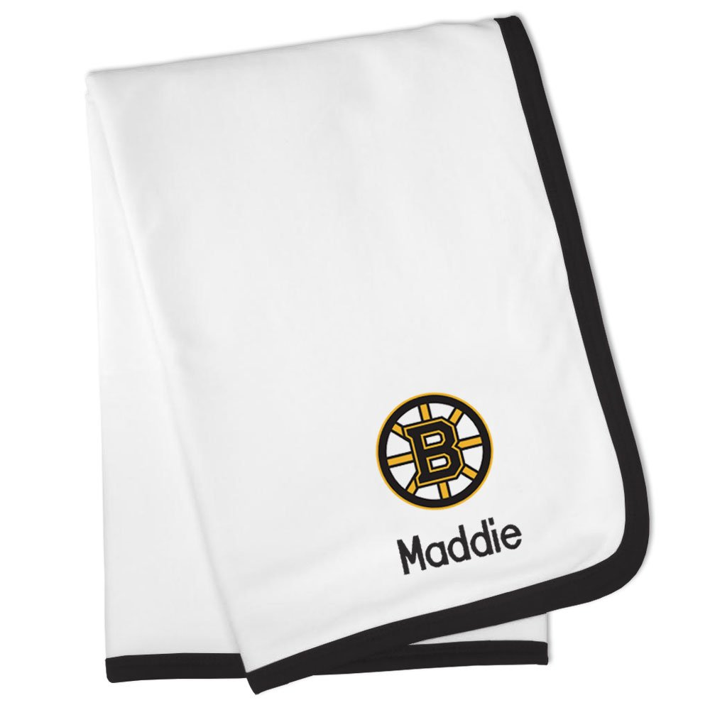 Designs by Chad and Jake Personalized Boston Bruins Baby Blanket (Officially Licensed) Ultra Soft, Warm Comfort | Receiving Swaddle for Newborn Boy or Girl | Portable, Stroller Friendly by Designs by Chad and Jake