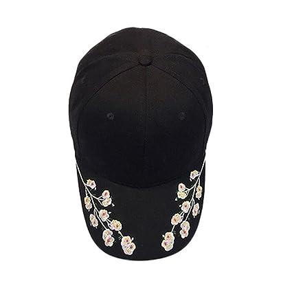 2e83fa434ac Amazon.com   BSGSH Women Floral Embroidered Cotton Baseball Cap Sun Hat  Adjustable Dad Hat Cap (Black)   Electronics