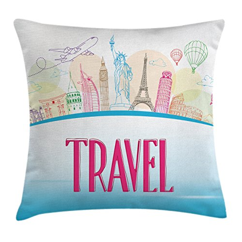 Liberty Tower - Ambesonne Travel Throw Pillow Cushion Cover by, Famous Landmarks of the World Statue of Liberty Eiffel Tower Tourist Design, Decorative Square Accent Pillow Case, 16 X 16 Inches, Sky Blue Hot Pink
