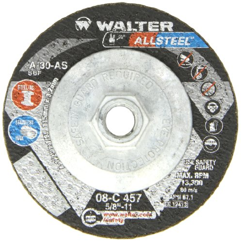- Walter ALLSTEEL 08C457 Versatile Grinding Wheel - [Pack of 10] A-30-AS Grit, 4-1/2 in. Cutting Wheel with Rounded Hole. Abrasive Wheels and Discs