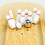 Celendi Mini Desktop Bowling Game Toys Made of Alley Wood, Office, Home, Party Toy Game
