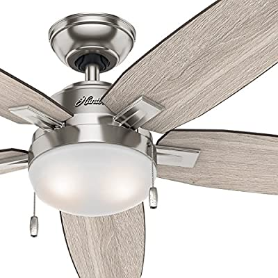 Hunter Fan 54 inch Contemporary Ceiling Fan in Brushed Nickel with LED Light Kit (Renewed)