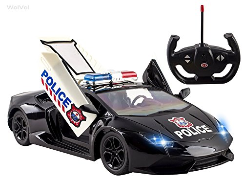 wolvol fast forward 5 channel remote control police car toy for kids with front lights remote controlled opening doors