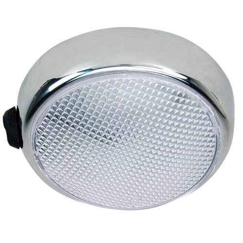 (Perko Round Surface Mount LED Dome Light - Chrome Plated - w/Switch)