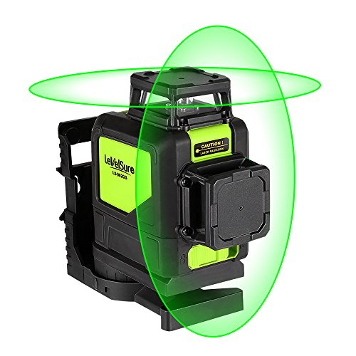 Levelsure Self-Leveling 360 Laser Level - Mute 902CG Green Beam 150 Ft Vertical Horizontal Line with Magnetic Pivoting Base, 2 Full-time Pulse Modes by Huepar