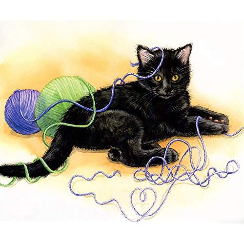- 16x20 Inch Rhinestone Cross-stitch Naughty Cat DIY Diamond Painting Kits Arts, Crafts & Sewing 5D Diamond Painting