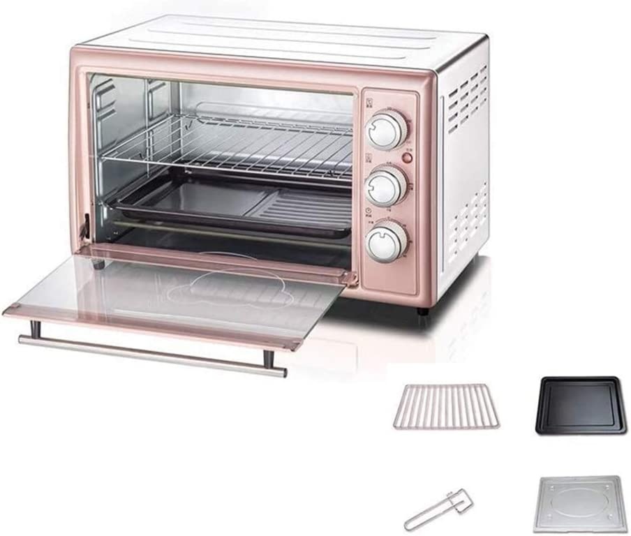 Wghz Mini Oven- 30L 1600W Glass Door Countertop Electric Oven with Baking Tray and Grill,Controllable Temperature 60-250°C, 60 Min Timer, Pink