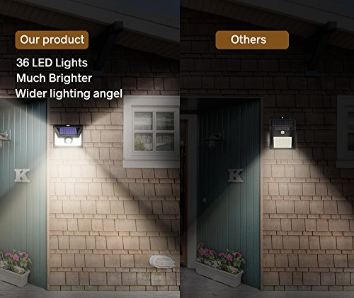 bluehorn Motion Sensor 36 LED Solar Lights, 600LM,Outdoor Waterproof Wireless Solar Security Lights for Driveway Garden Wall Back Door Deck Yard (600LM 2 Pack) by bluehorn (Image #2)