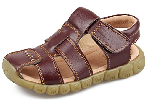 SKOEX Boy's Leather Closed Toe Outdoor Sport Sandal (Toddler/Little Kid) US Size 8M,Brown