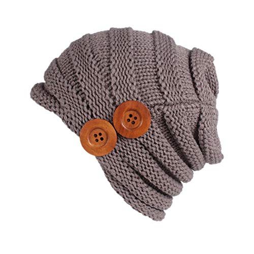 iYBUIA Women Ladies Solid Winter Button Knitting Hat Turban Brim Hat Cap (Gray,One Size)