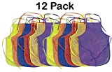 bread apron - Kidsco Children's Artists Fabric Aprons - 12 Pack - 13 X 19 Inches With 14 Inch Ties Assorted Colors, For Art And Baking - Great For Kitchen, Classroom, Arts & Crafts, Painting Activity – By