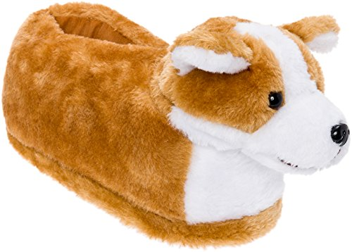 Silver Lilly Corgi Slippers - Plush Welsh Corgi Dog Slippers w/Platform (Tan/White, Small)