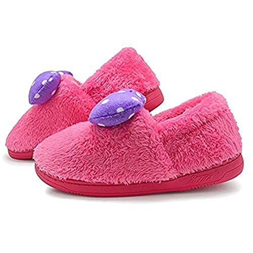 Polliwoo Zapatillas de vellocino Fluff Invierno Interior Casa antideslizantes Calzado para mujer Rose Red