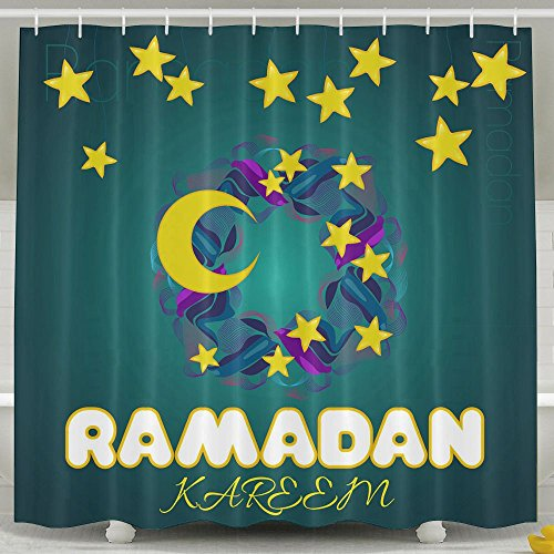 BINGOING Funny Fabric Shower Curtain Creative Wreath With Stars And Moon For Islamic Waterproof Bathroom Decor With Hooks 60 X 72 Inch by BINGOING