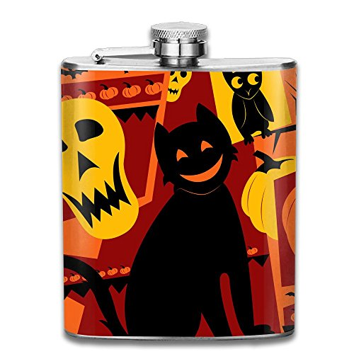 Halloween Stainless Steel Flagon Retro Rum Whiskey Alcohol Pocket Flask With Funnel 206ML