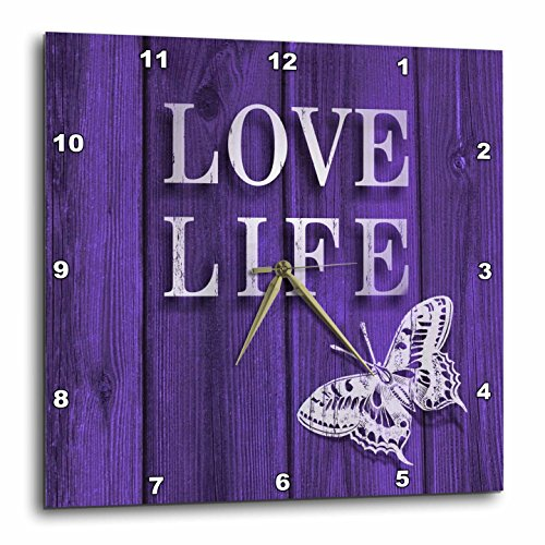 Rose Typography-Love Life Text and Butterfly Stain Wood