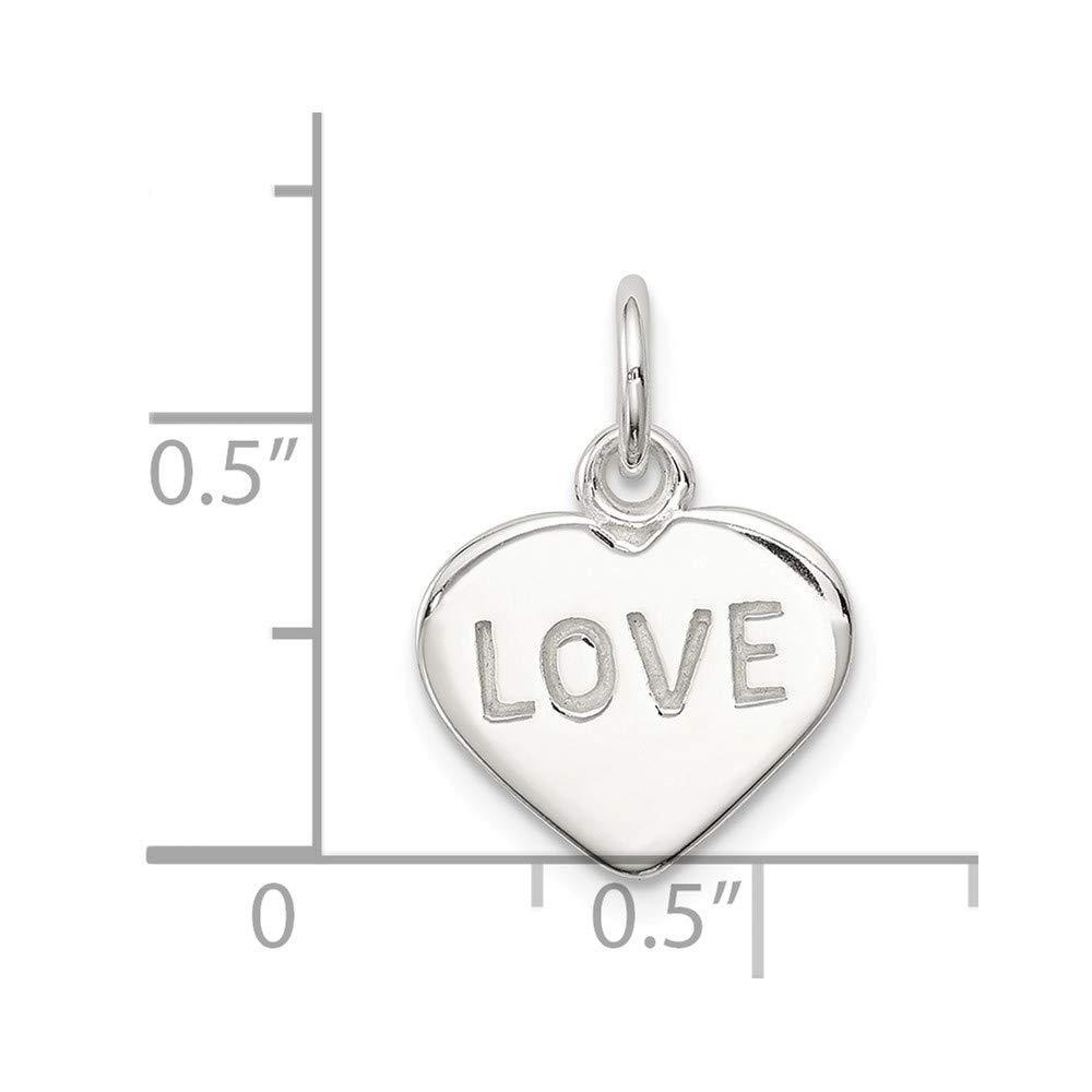 Sterling Silver Love Heart Charm 0.7IN long x 0.5IN wide