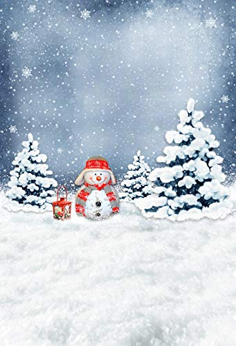 Leyiyi 6.5x10ft Photography Background Merry Christmas Backdrop Happy New Year Cartoon Xmas Tree Snowing Winter White World Enchanted Forest Snowflake Snowman Lantern Photo Portrait Vinyl Studio Prop