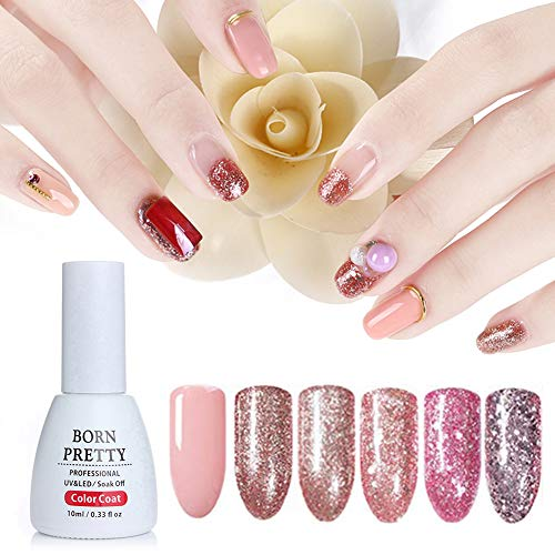 Born Pretty 10ml Nail Art Glitter UV Gel Nail Polish Set Shining Rose Gold Soak Off Manicure Varnish Lacquer (6 Colors)