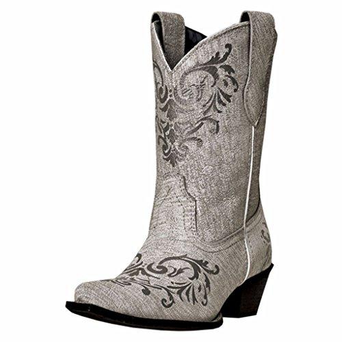 "Laredo Women's 9"" Western Boots White & Silver ""Tattoo"" A..."