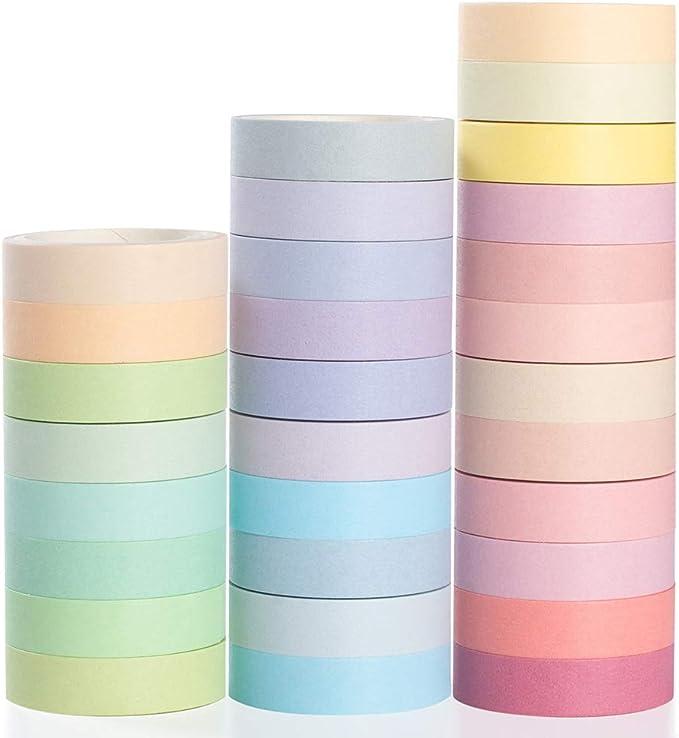 YUBBAEX Washi Tape Set cinta adhesiva decorativa Washi Glitter Adhesivo de Cinta Decorativa para DIY Crafts Scrapbooking 20 Rollo