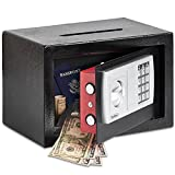 VonHaus Solid Steel Safe - 0.44 Cubic Feet - 9.5lbs Electronic Digital Home and Office Security Safe with Posting Slot - Includes 4 X AA Batteries, Override Key, Fixing Kit - Fix To Wall, Floor, Shelf