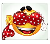 Luxlady Gaming Mousepad IMAGE ID: 23151265 Funny smile with and red lingerie with white polka dots a series of adult party