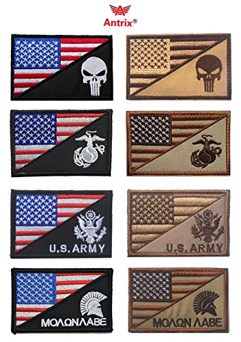 Us Army Corps Patch - Antrix 8 Pieces US American Flag/USA Punisher US Marine Corps USMC US Army Spartan Molon Labe Military Tactical Morale Velcro Patches 3.15