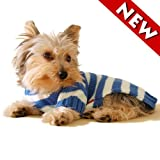 Size #10, Blue Stripe, Designer Dog Hoodie Sweater, Casual and Stylish, My Pet Supplies