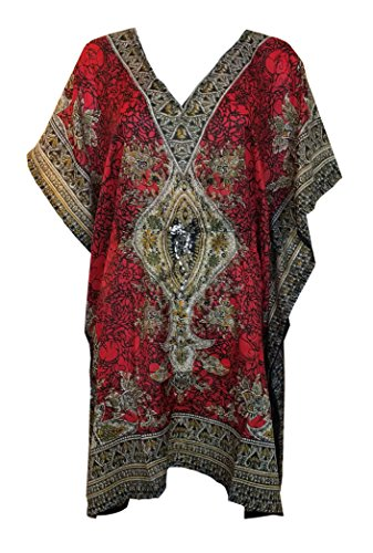 - My Take Womens Printed Caftan One Size Red