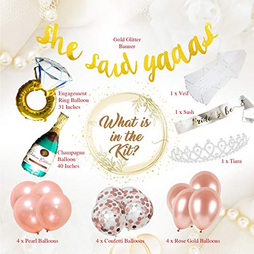 Bachelorette Party Bridal Shower Decorations Pack Includes:She Said Yaas Banner | Bride to Be Sash | Giant Champagne Balloon | Giant Ring Balloon | White Veil | Confetti/Rose Gold/Pearl -
