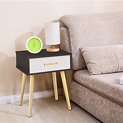 Jerry & Maggie - Nightstand Modern Fashion 4 Thin Long Legs Space Station - 1 Tier Cubic Night Stand Storage Bedside Table with 2 Drawer Real Natural Paulownia Wood | White Drawer & Navy Surface - MATERIAL - Real Natural Paulownia Wood - Natural | No Scent | Non-toxic | Polished Surface FUNCTION - Easy Assemble - 1 Wood Drawer with Wood handle - easy to storage personal accessories - flat wood top perfect for placing plants | table lamp | book | makeup accessories CONSTRUCT - 4 Thin Long Legs - but can hold heavy items such as laptop, table lamp, and bedroom decor | protect your floor from stretching - extra large and smooth top surface allows placing more items and perfect to touch - bedroom-furniture, nightstands, bedroom - 51g%2BdUr7VIL. SS400  -