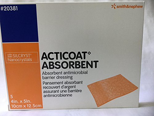 Smith & Nephew 20381 ACTICOAT Absorbent Silver-Coated Antimicrobial Calcium Alginate Dressing, 4