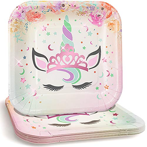 Praity Square Paper Unicorn Themed Plates Set: 16-Pack Waterproof Deluxe Party Plates from Thick Paper | Pink Foil Unicorn Party Disposable Plates for Birthday, Kids Party & More (7 Pink Foil)
