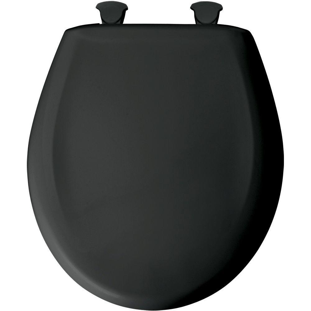 Bemia|#Bemis 200SLOWT 047 Slow Close Sta-Tite Round Closed Front Toilet Seat, Black,