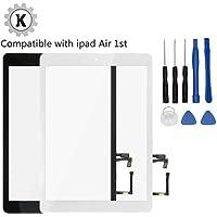 KAKUSIGA Digitizer Display Glas für iPad Air (Schwarz) 9.7 inch Touchscreen Ersatzteil Inkl Flex Home Button + Kamera Halterung + Klebesticker und Werkzeugset mit Anleitung