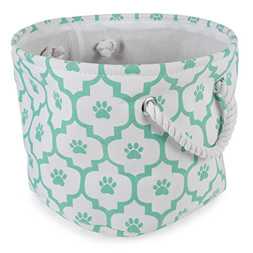 DII Bone Dry Small Round Pet Toy and Accessory Storage Bin, 12(Dia) x 9(H), Collapsible Organizer Storage Basket for Home Décor, Pet Toy, Blankets, Leashes and Food-Aqua Lattiec Paw Print