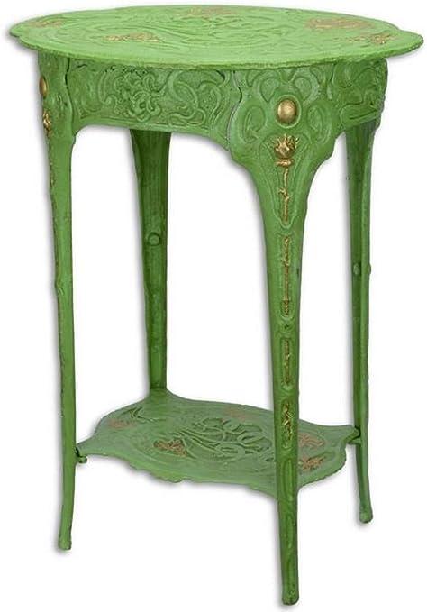Casa Padrino Mesa Auxiliar Art Nouveau Verde/Oro 46,6 x 36 x H. 60 ...