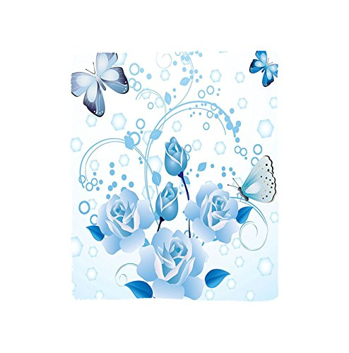 Vroselv Custom Blanket Butterflies Decoration Collection Fairy Nature World With Flowers And Butterflies Rose Magical Sparks Print Home Soft Fleece Throw Blanket Light Blue