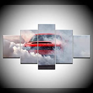 HAIYOUYOU Canvas Painting Dodge Challenger Demon Wall Art Pictures 5 Pieces Modular Wallpapers Poster Print for Living Room Home Decor -size2-With Frame