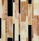 Bedrosians GLSRETPABLMP ''Retrospect'' Mosaic with Linear Pattern, 12'' x 11.50'', Parfait Blend