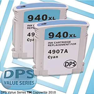DPS Value Series ? 940XL Cyan 2-Pack of Remanufactured Ink Cartridges (Compatible for Genuine HP 940XL)