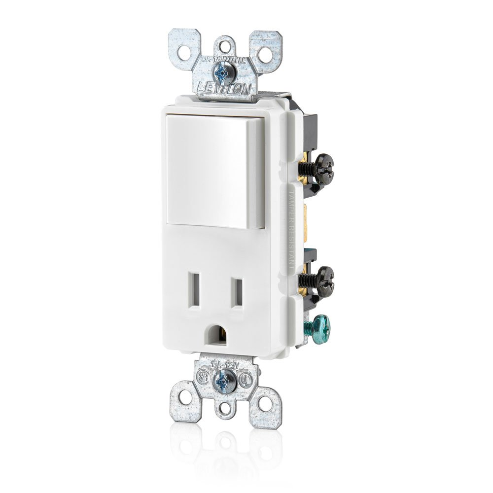 Leviton T5625 W Decora Combination Switch And Tamper Resistant Volt Single Pole Wiring Two Switches Further 3 Way Toggle Receptacle White Wall Light
