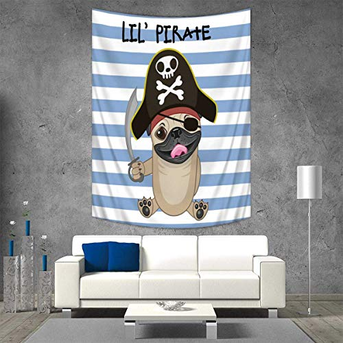 Anhuthree Pirate Tapestry Table Cover Bedspread Beach Towel Buccaneer Dog in Cartoon Style Costume Lil Pirate Striped Backdrop Funny Animal Dorm Decor 54W x 72L INCH Multicolor